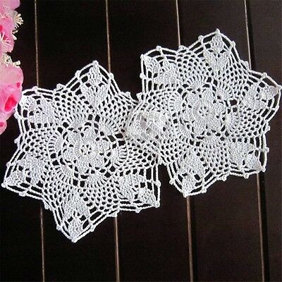 LOT 12X Vintage Hand Crochet Lace Doily Flower Cup Coaster White Snowflake 8.6''