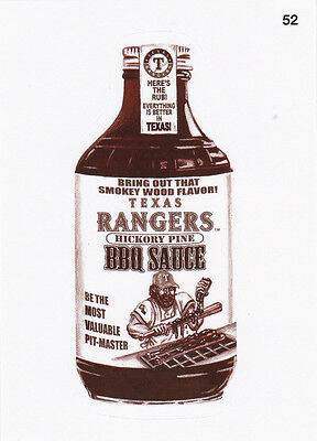 "2016 Wacky Packages Baseball Series 1 Sepia Sticker ""texas Rangers Bbq Sauce""#52"