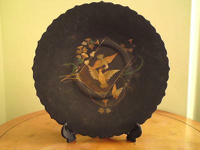 19thc antique Victorian Aesthetic Movement papier mache lacquer stem dish tray