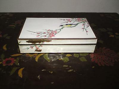 Antique Chinese Cloisonne Canton Enamel on copper card game box bird prunus