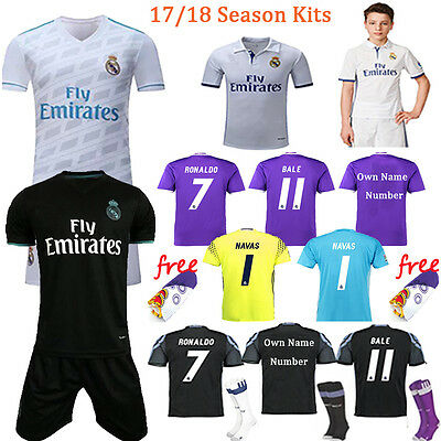 17/18 Season Football Soccer Kit Short Sleeve Team Suit Kids Youth Jersey +Socks