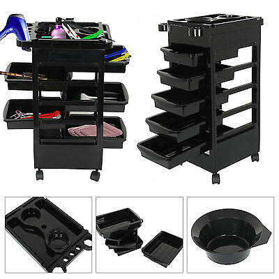 Moving Salon Hairdresser 5 Drawer Beauty Spa Hair Trolley Rolling Storage Cart