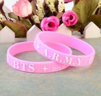 Bts Bangtan Boys *pink* Army Wristband - Uk Kpop K-Pop