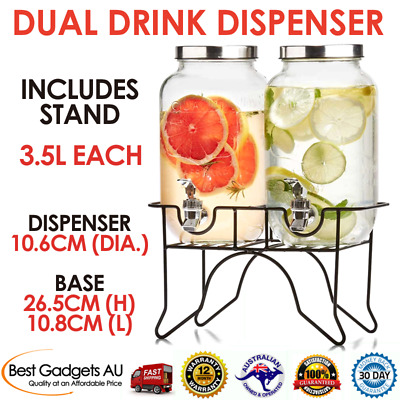 Drinks Dispenser x 2 Refreshments Kitchen Dinning BBQ Outdoor Party Stylish Bar