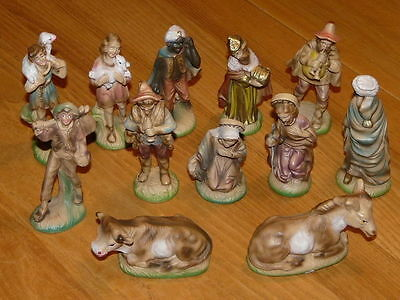 12 Very Nice Vintage Paper Mache Christmas Xmas Nativity Figures - Made in Italy