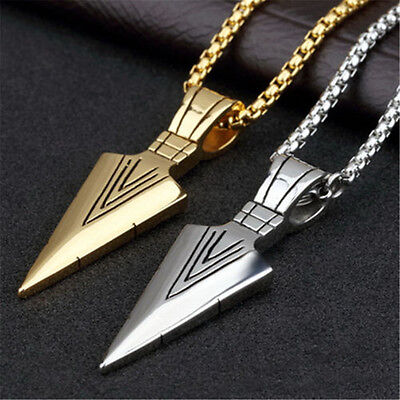 Men's Fashion Gold Silver Arrow Head Pendant Long Chain Necklace Punk Jewelry