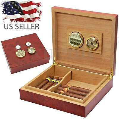 20-Cigars Humidor Cedar Wood Box Hygrometer Humidifier Storage Case Holder 2017