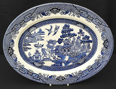"""Churchill - Willow Pattern - Blue and White - Platter - 12"""""""
