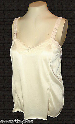 vintage 1960s, Cami Camisole, Mardor, Creamy-Beige-Ivory Nylon-Tricot lace, L