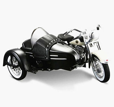 Maisto 1:18 Harley Davidson 1958 FLH Duo Glide W Side Car Motorcycle Model Toy