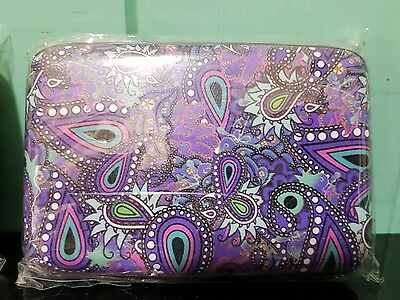 RFID hard case Armoured Wallet Security - Blue & purple paisley design