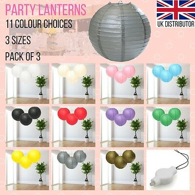 "Pack of 3 Chinese Paper Lanterns 8, 12, 16"" Christmas Birthday Party or Wedding"