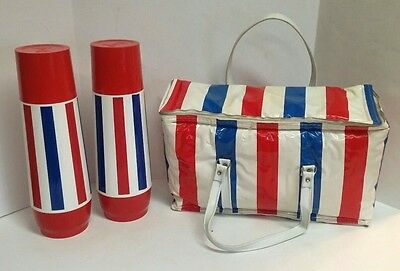 Vintage Thermo-Serv Red White Blue July 4th Patriotic 3 Pc Cooler Thermos Set