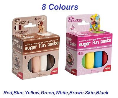 Cake Decoration Coloured FONDANT-SUGAR PASTE moveable ready to use 8 Colours