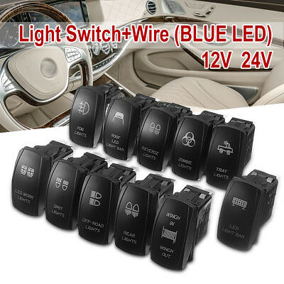 Waterproof Car Boat Laser Etched Rocker Switch Dual Led Illuminated On-Off 12V