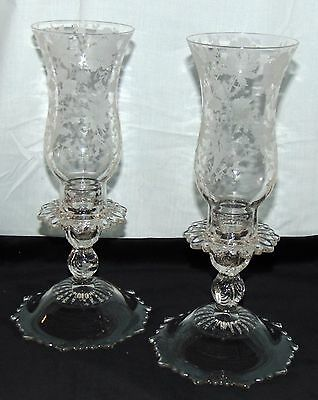 "Cambridge WILDFLOWER CRYSTAL *11"" HURRICANE LAMPS w/ETCHED CHIMNEY*PAIR* #1617*"