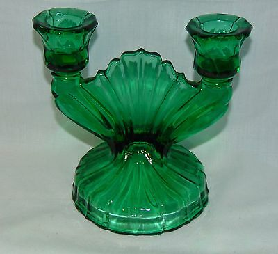 "Jeannette SWIRL *ULTRAMARINE GREEN *5 1/2"" BRANCH CANDLEHOLDER* SINGLE*"