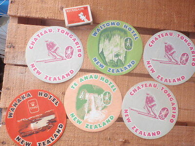 Six New Zealand  paper Luggage  Labels""