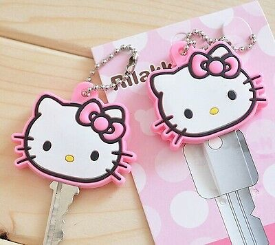 1Pcs cute Hello Kitty pink Key Cap Cover pink keychain