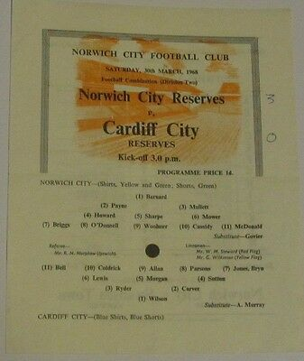 1967/1968 Norwich City Reserves v Cardiff City Res. 30 March 1968.
