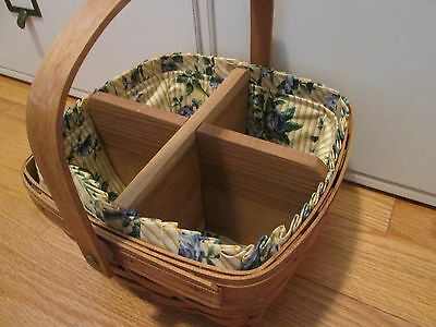 Longaberger 4-Section Divider Large Berry Basket Handcrafted/Solid Wood Custom