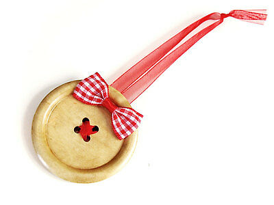 Christmas Wood Ornament, Red Gingham Button