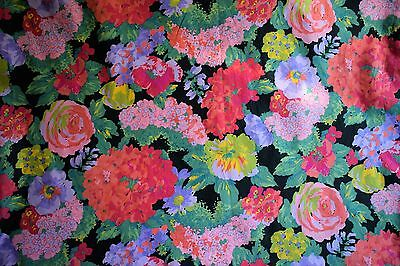 Vintage Retro 60s 70s Colourful Floral Garden Flowers Dress Material Fabric