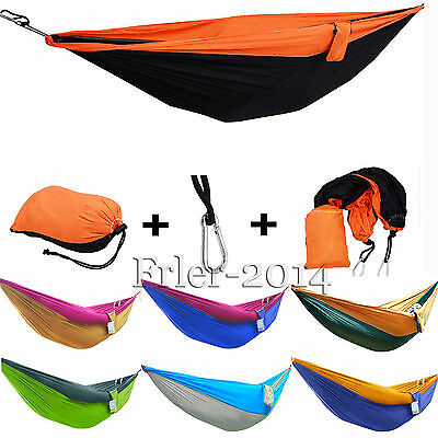Double Size Fabric Hammock Outdoor Camping Picnic Patio Sleeping Parachute Bed