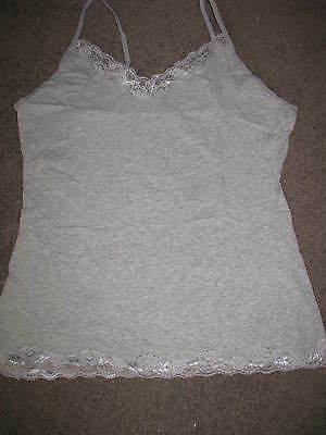 Bnip Ladies Grey Cami Camisole Top Size 10 12 14  Lace Detail Singlet