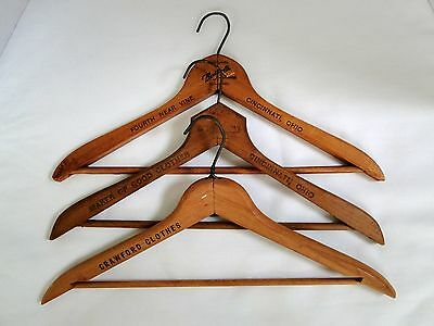 3 Vintage Clothing Store Wood Advertising Clothes Hanger from Cincinnati Ohio