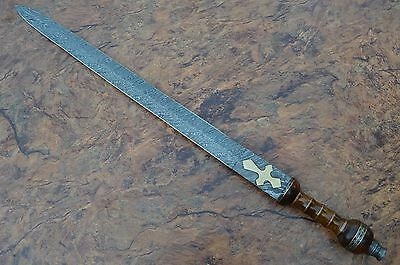 Damascus Sword,Custom Handmade ROMAN GLADIUS SWORD.ROSE WOOD & BRASS SPACERS