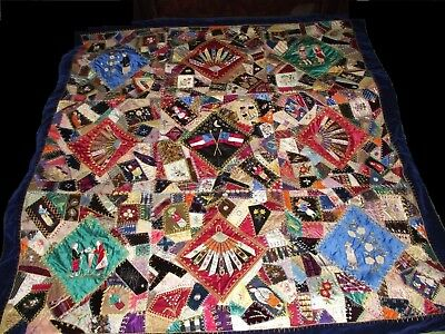 Antique quilt coverlet 1880's Confederate Civil War * Amazing One of a Kind *