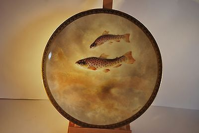 Royal Doulton Hand Painted Plate - J Birbeck Sen - Brook Trout - Fish - c. 1900