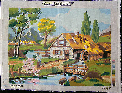 Vintage MARGOT de Paris Partly Worked Needlepoint Canvas Tapestry Craft