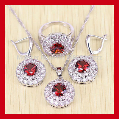 Beautiful round RED Garnet  and TOPAZ 925 Silver Necklace Earrings Ring Set