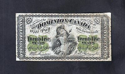 Canada 1870   25 Cents  Circulated