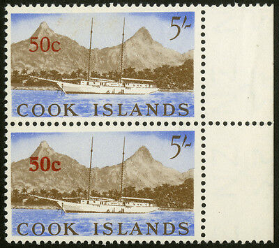 Cook Islands - SG 217-217a - 1967 - 50c. on 5s. Surcharge Varieties - MNH