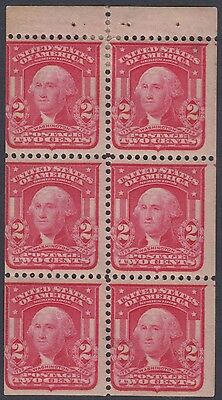 1903 US Huston, type I Booklet pane of 6 2c Sc 319n LH Cat $275