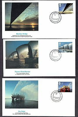 Great Britain - 1983 - Engineering Achievements, Scott# 1019-21, 3 Fleetwood FDC