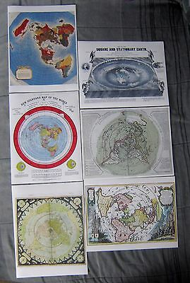 6 Flat Earth Maps Gleasons Square and Stationary Planisphere Air Age