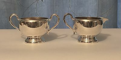 Wm A. Rogers Silver Plate Cream and Sugar Set, Minimalist Design, 3336