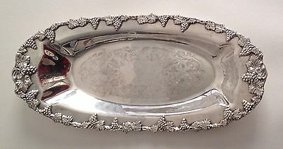 Marlboro Silver Plate Bread Tray Serving Dish, Grapes and Leaves 202 47
