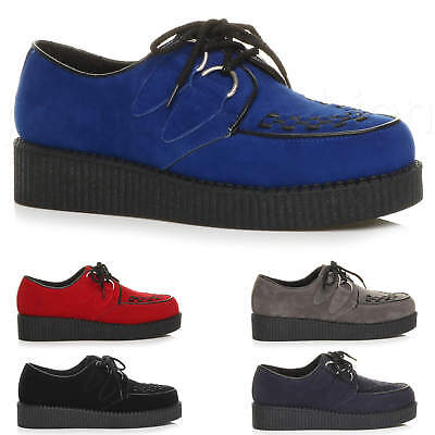 Mens Goth Punk Rockabilly Brothel Creepers Vintage Wedge Platform Shoes Size