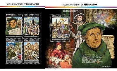 Z08 SRL17215ab SIERRA LEONE 2017 500 Years Reformation Martin Luther MNH ** Post
