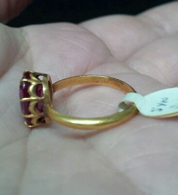 Antique Yellow Gold Edwardian/ Victorian Claw Ring with MM Ruby!  Size 7.25!