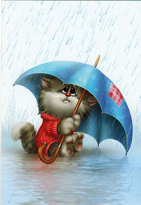 RAINY DAY!  Cat under umbrella Modern Russian card by A.Dolotov