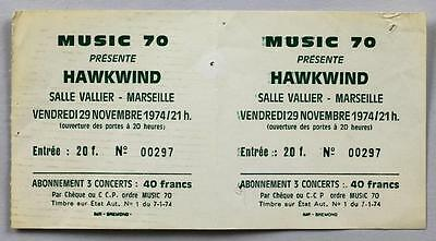 HAWKWIND - mega rare original Marseille 1974 FULL UNUSED concert ticket