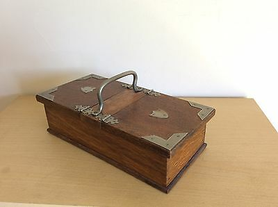 Antique Edwardian Oak & Plated Cigarette Box