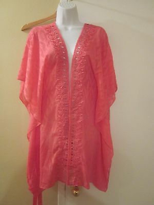 In Bloom By Jonquil Pink Short Lacey Detail Semi-Sheer Robe Size S New