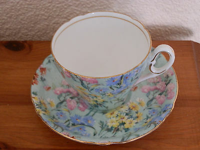 4 Pretty Shelley Melody Chintz  Coffee Cups And Saucers - Gold Trim